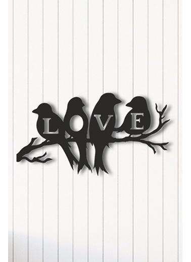 Angemiel Home Muhabbet Kuşu Love Metal Duvar Tablosu Siyah